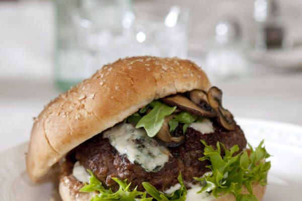 Venison, Mushroom and Bleu Cheese Burger