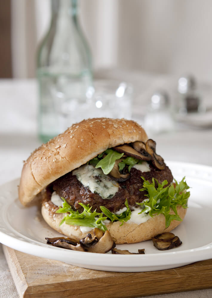 Venison, Mushroom and Bleu Cheese Burger
