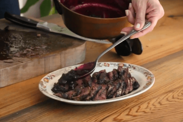Cocoa Crusted Venison with Berry Reduction Sauce