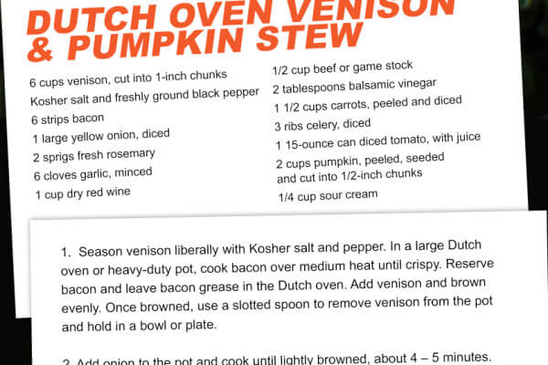 Pumpkin and Venison Dutch Oven Stew